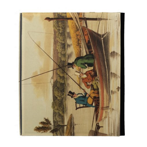 Fishing in a Punt, aquatinted by I. Clark, pub. by iPad Folio Covers