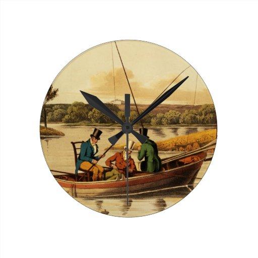 Fishing in a Punt, aquatinted by I. Clark, pub. by Wall Clocks