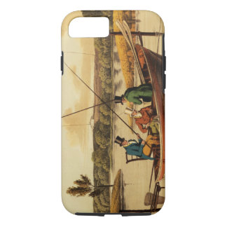 Fishing in a Punt, aquatinted by I. Clark, pub. by iPhone 7 Case