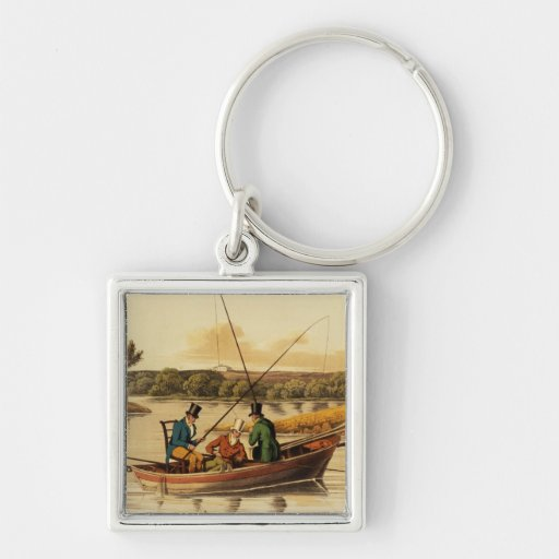 Fishing in a Punt, aquatinted by I. Clark, pub. by Keychains