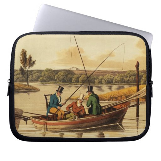Fishing in a Punt, aquatinted by I. Clark, pub. by Laptop Sleeve