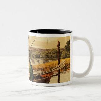 Fishing in a Punt, aquatinted by I. Clark, pub. by Coffee Mug