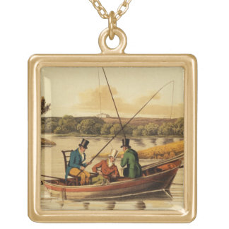 Fishing in a Punt, aquatinted by I. Clark, pub. by Pendants