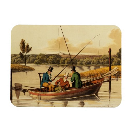 Fishing in a Punt, aquatinted by I. Clark, pub. by Flexible Magnet