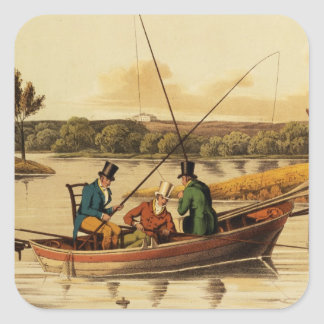Fishing in a Punt, aquatinted by I. Clark, pub. by Square Sticker