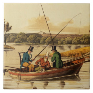 Fishing in a Punt, aquatinted by I. Clark, pub. by Tiles