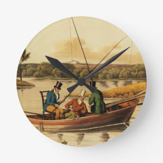 Fishing in a Punt, aquatinted by I. Clark, pub. by Wallclock