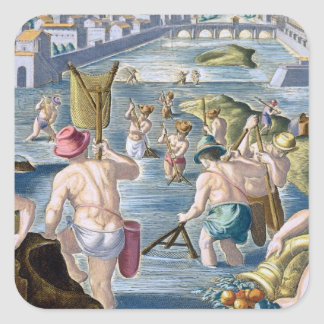 Fishing in Shallow Waters Using Nets, plate 96 fro Square Sticker