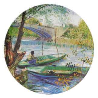 Fishing in Spring, Vincent van Gogh. Beautiful fis Plate