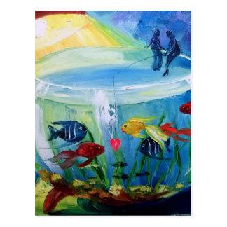 Fishing in the aquarium postcard