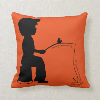 Fishing in the Evening Throw Pillow