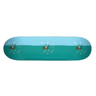 Fishing joke with dynamite skate boards