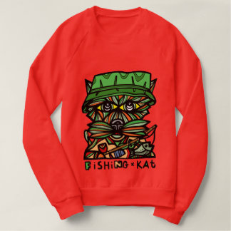 """Fishing Kat"" Men's Raglan Sweatshirt"