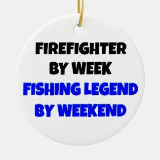 Fishing Legend Firefighter Ceramic Ornament