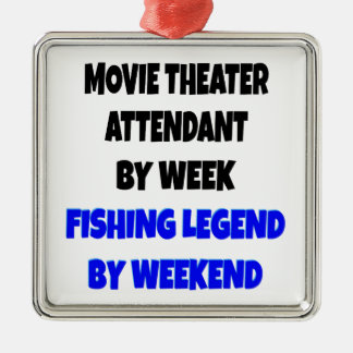 Fishing Legend Movie Theater Attendant Metal Ornament