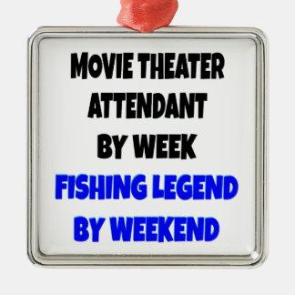 Fishing Legend Movie Theater Attendant Silver-Colored Square Ornament