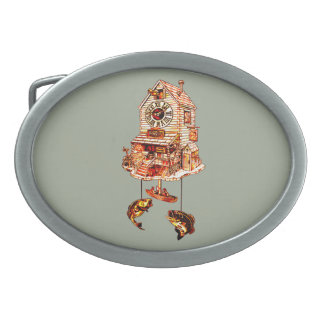 Fishing Lodge Cuckoo Clock Oval Belt Buckle