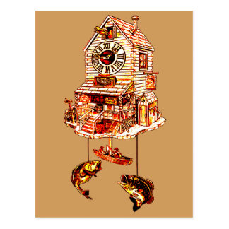 Fishing Lodge Cuckoo Clock Postcard