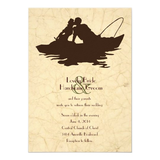 Fishing lovers brown boat wedding invitation for Fishing wedding invitations
