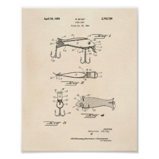 Fishing Lure 1956 Patent Art Old Peper Poster