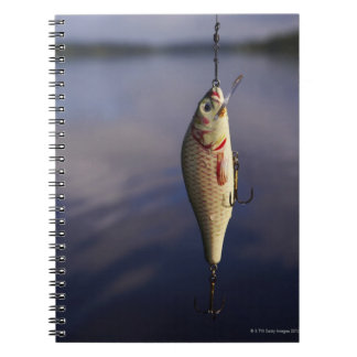 fishing lure in front of water spiral notebook