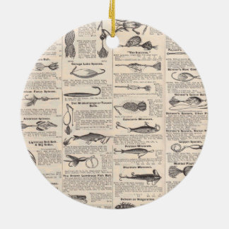 fishing Lures Newsprint Advertising Round Ceramic Ornament