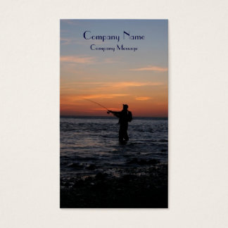 fishing man sunset, buisness card