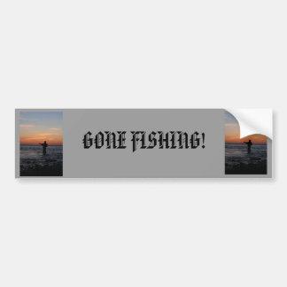 fishing man sunset, fishing man sunset, GONE FI... Bumper Sticker