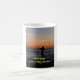 fishing man sunset, Good things come to those w... Coffee Mug