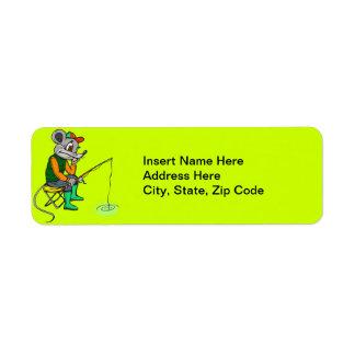 Fishing Mouse Return Address Label
