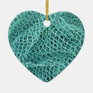 Fishing Net Ceramic Heart Ornament