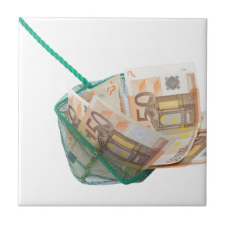 Fishing net filled with euro notes ceramic tiles
