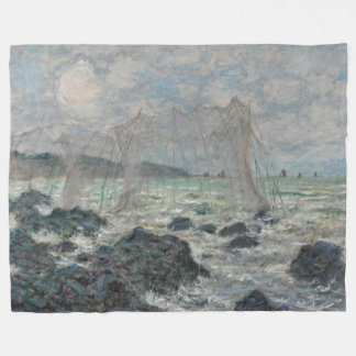 Fishing Nets at Pourville Claude Monet Fleece Blanket
