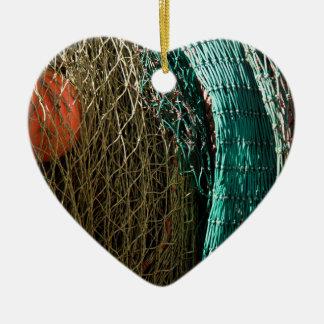 Fishing nets ceramic heart ornament