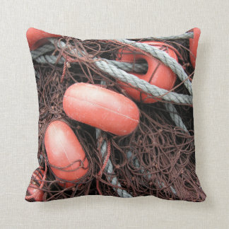 Fishing nets, floats and rope on the harbor throw pillow