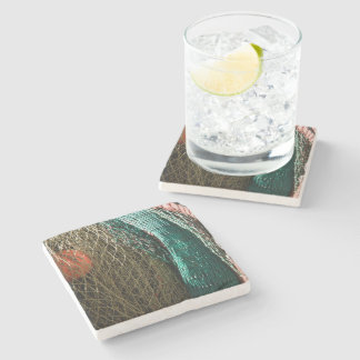 Fishing nets stone beverage coaster