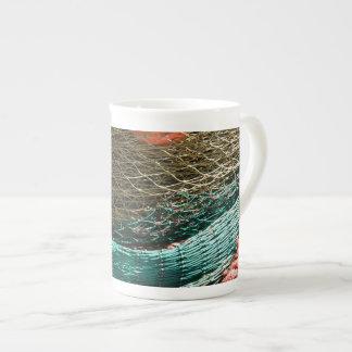 Fishing nets porcelain mugs