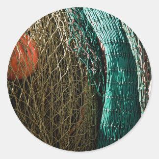 Fishing nets round stickers