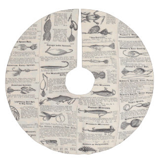 Fishing Newsprint Vintage Advertisement Brushed Polyester Tree Skirt