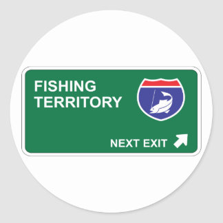 Fishing Next Exit Classic Round Sticker