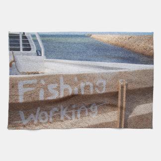 Fishing NOT Working beach sky jetty pier ute Kitchen Towels