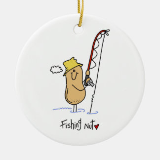 Fishing Nut T-shirts and Gifts Round Ceramic Ornament