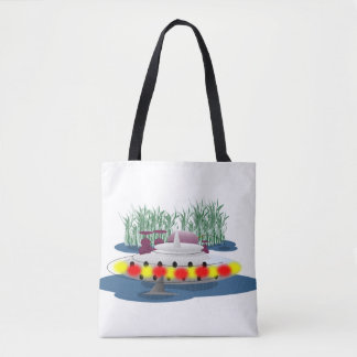 Fishing, or being fished? tote bag