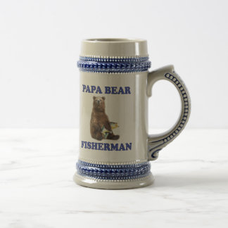Fishing Papa Bear Beer Stein