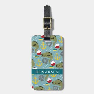Fishing Pattern with Custom Name Bag Tag