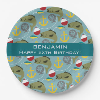 Fishing Pattern with Custom Name Paper Plate