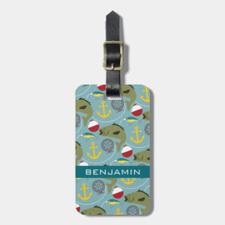Fishing Pattern with Custom Name Tags For Bags