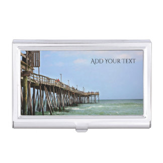 Fishing Pier by Shirley Taylor Business Card Holder