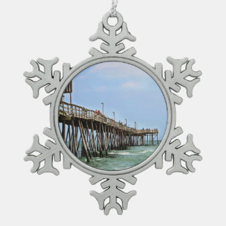 Fishing Pier by Shirley Taylor Snowflake Pewter Christmas Ornament