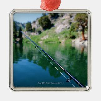 Fishing pole and lake metal ornament